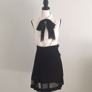 Burberry London Black Kilt Skirt w Lace Trim